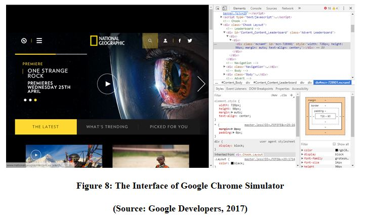 Interface of Google Chrome Simulator