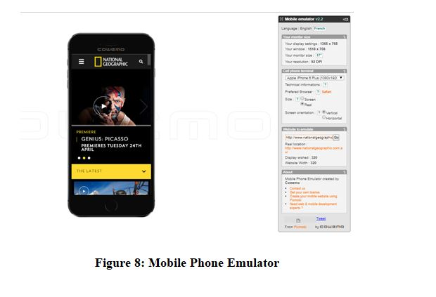 National Geographic Website on Mobile Phone Emulator