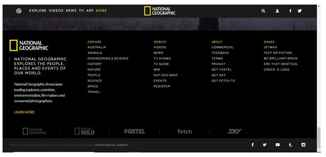 RWD for national geographic footer