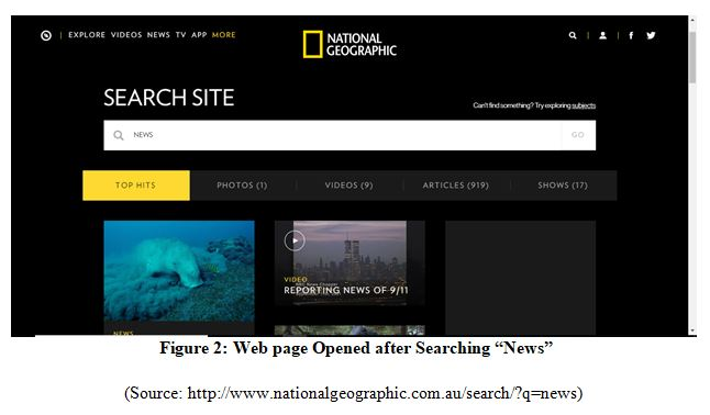 Responsive Web Design for national geographic Web page Opened after Searching News